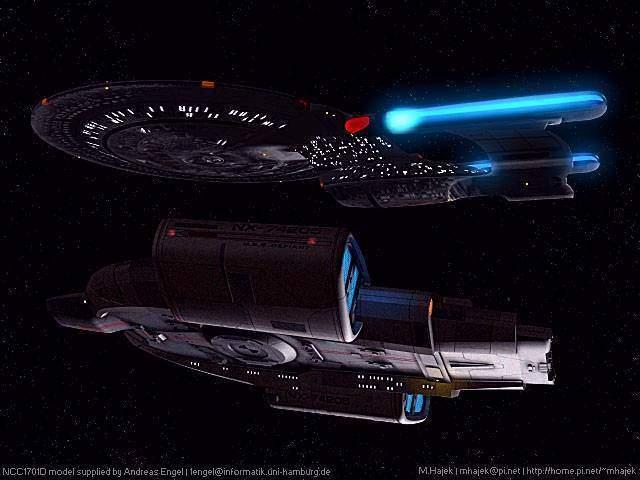 ... U.S.S. Enterprise-D (NCC-1701-D) with U.S.S. Defiant (NX-74205) ...